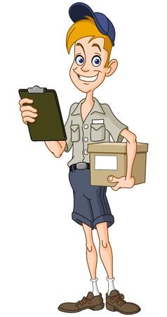 cartero: Sonriente hombre de entrega con un paquete y un portapapeles