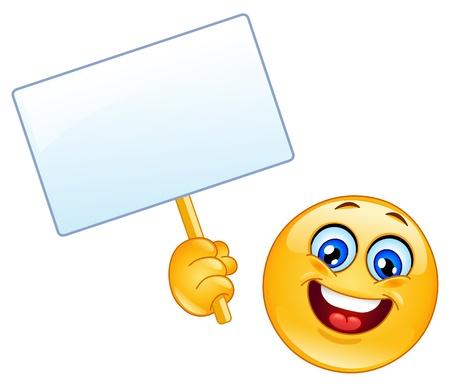 carita feliz caricatura: Emoticon con un cartel Vectores