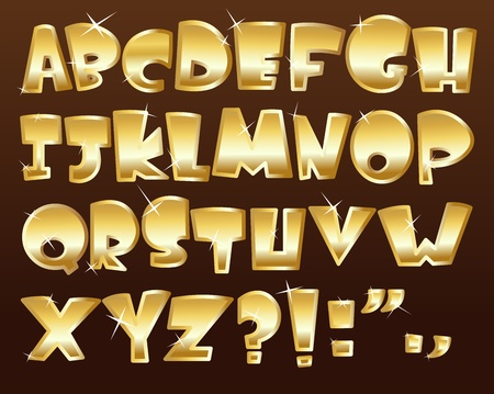 bright alphabet: Gold alphabet