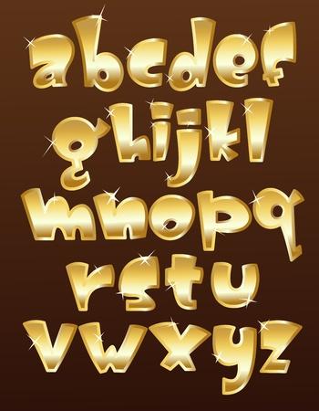 letras cromadas: Min�sculas alfabeto de oro Vectores