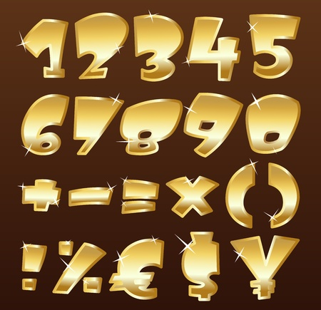 gold letters: Gold numbers Illustration