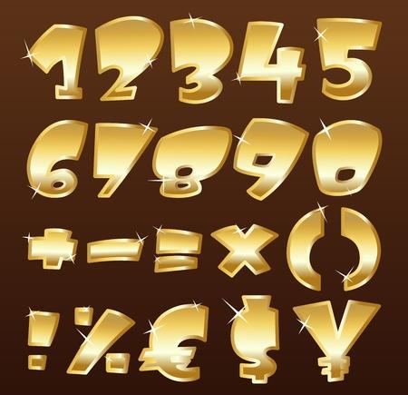 letras doradas: Números de oro Vectores