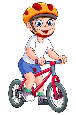 Cute kid riding his bicycle Vector