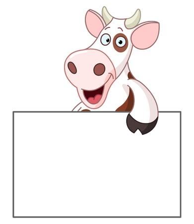 vaca caricatura: Vaca sonriente que sostiene un cartel en blanco Vectores