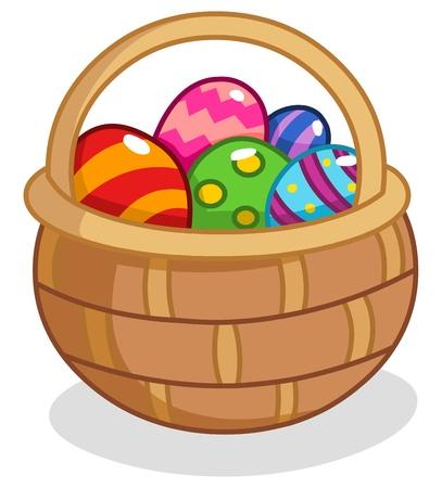4월: 만화 부활절 계란 바구니 일러스트