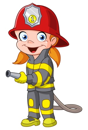 Junges Mädchen in einem Feuerwehrmann Kostüm Vektorgrafik