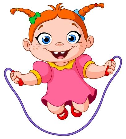 salti: Giovane ragazza che salta su una corda per saltare