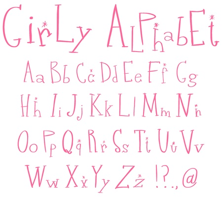 hand written: Pink girly alphabet Illustration