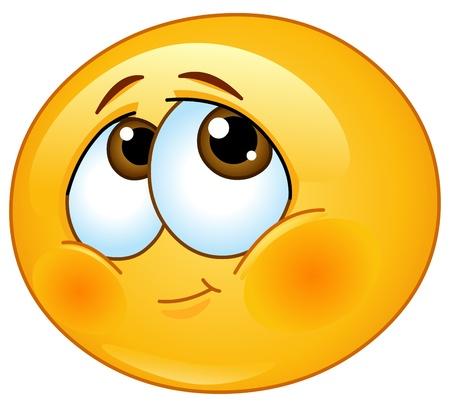 carita feliz caricatura: Shy emoticono Vectores