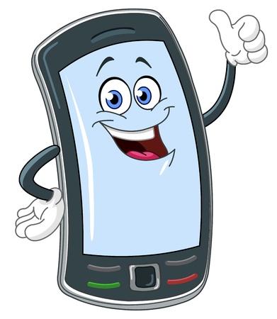 man on cell phone: De dibujos animados de tel�fono inteligente con el pulgar arriba
