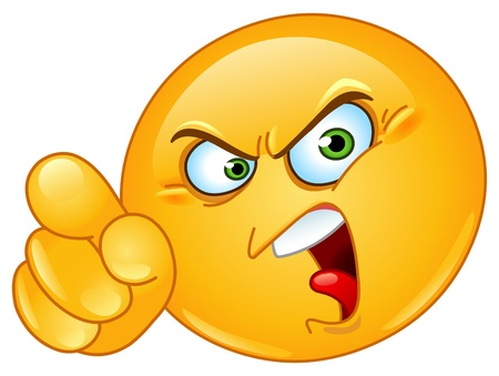 emoticon: Angry emoticon pointing an accusing finger Illustration