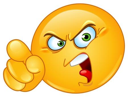 pelota caricatura: Emoticon enojado señalando con un dedo acusador