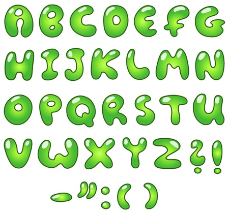 Green bubble-shaped alphabet Stock Vector - 13059825