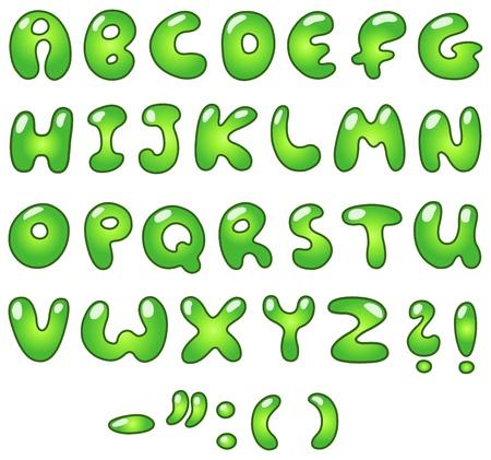 Green bubble-shaped alphabet Vector