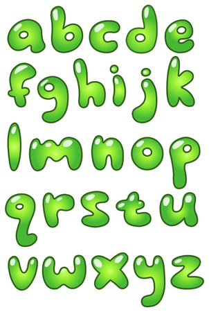 kids abc: Verde min�scula en forma de burbuja alfabeto