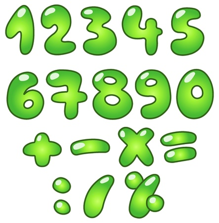 numbers: Green bubble-shaped eco numbers