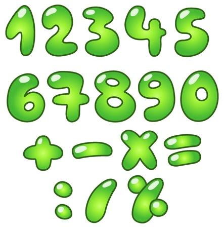nombres: Verts num�ros �co-bulle en forme