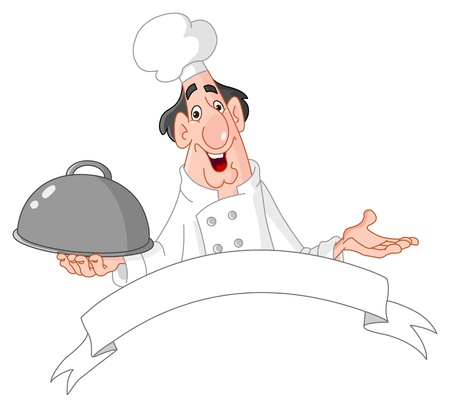 french cuisine: Chef holding a tray with a blank banner