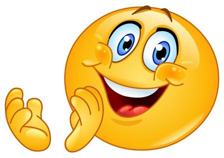 cara sonriente: Emoticon de aplausos Vectores