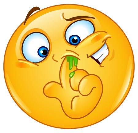 smiley content: Emoticon doigt dans le nez Illustration