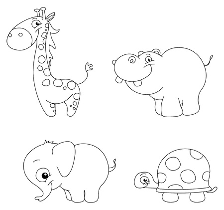 coloring book pages: Outlined cute animal set: giraffe, hippopotamus, elephant and turtle Illustration