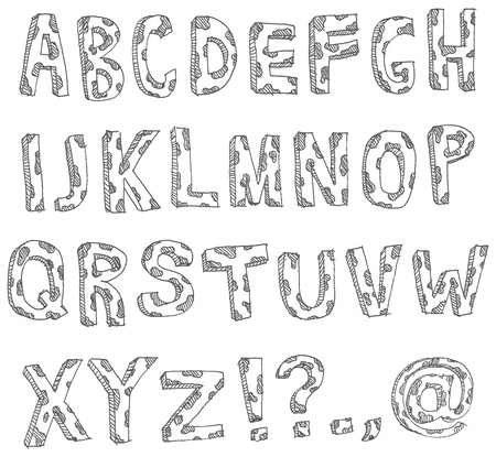 Vector hand drawn spotted alphabet Vector