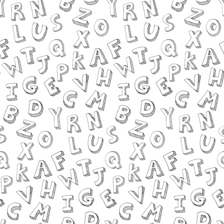 written text: Vector hand drawn seamless pattern of letters Illustration
