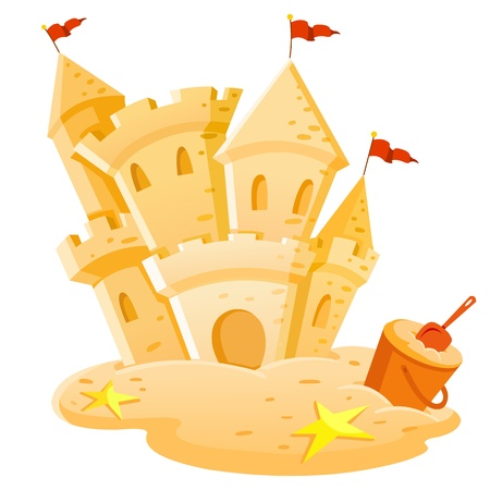 children sandcastle: Sand castle Illustration