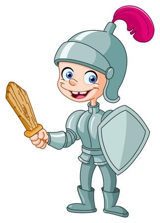 caballero medieval: Niño feliz caballero