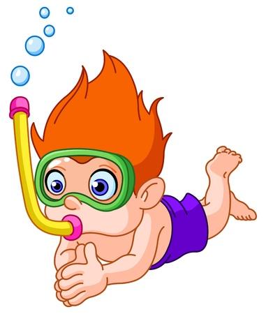 Snorkeling kid Vector