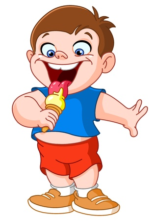 Kid eating ice cream Vector