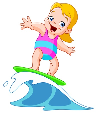 infant bathing: Young girl surfing