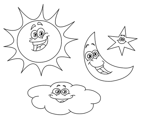 coloring book page: Outlined sun moon star and cloud set