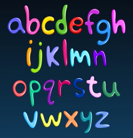 lower: Lower case colorful spaghetti alphabet