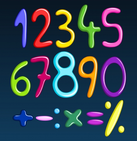 Colorful spaghetti numbers Stock Vector - 13629395
