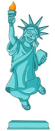 freedom woman: Statue of liberty jumping in the air Illustration