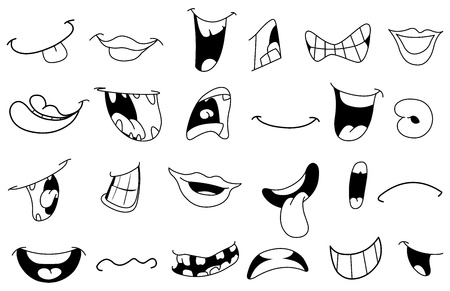 woman open mouth: Outlined cartoon mouth set