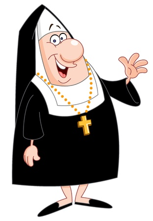 school girl uniform: Smiling nun waving
