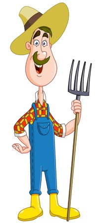 Agradable agricultor con horca