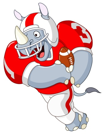 rhinoc�ros: Rhino Football Illustration