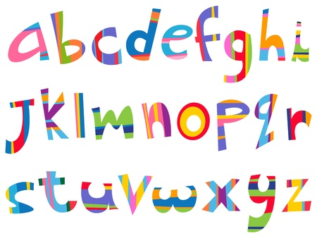written text: Lower case fun alphabet