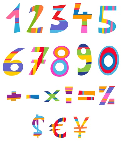 one colour: Fun numbers, math and currency signs Illustration