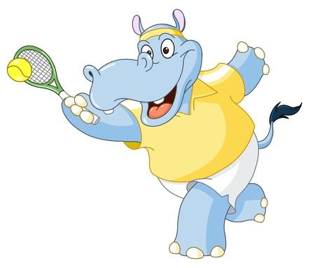 hippopotamus: Tenis hipop�tamo Vectores