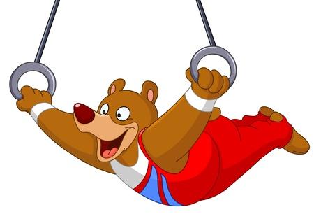 gymnastik: Man gymnast björn med ringar