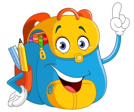 mochila escolar: Apuntando mochila de dibujos animados con su dedo Vectores