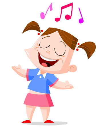 Young girl singing Vector