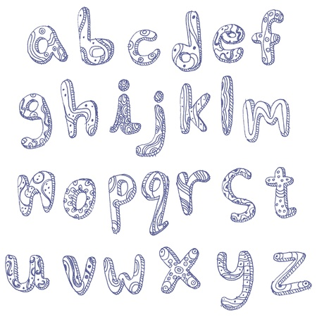 Lower case hand drawn doodle alphabet Vector