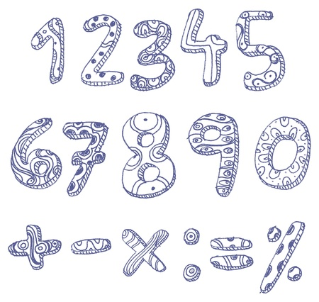written text: Hand drawn doddle numbers and math signs Illustration