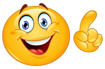 carita feliz caricatura: Emoticon haciendo un punto