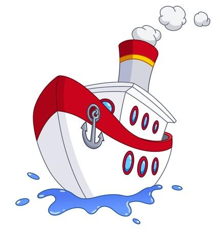 barco caricatura: Cartoon barco Vectores